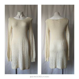 Knitted & Knotted▪ Ivory Alpaca Wool Sweater Dress